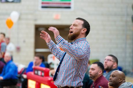 Naugatuck head coach Michael Wilson can't believe a foul call during his team's NVL match-up with Wolcott Tuesday at Wolcott High School. Jim Shannon Republican American
