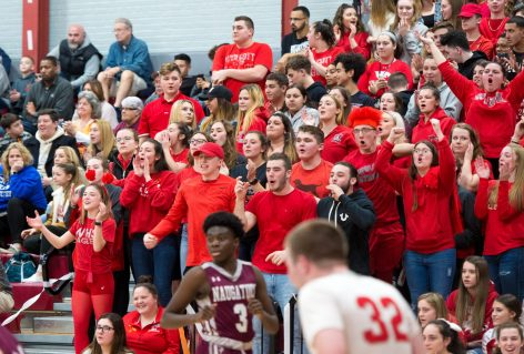 The Wolcott student body was out in full force for their game against Naugatuck Tuesday at Wolcott High School. Jim Shannon Republican American