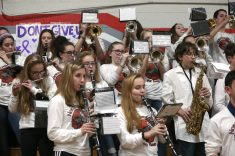 Northwestern High School's band plays during halftime of the boys varsity basketball game against Gilbert High School at Northwestern on Friday night. Emily J. Reynolds. Republican-American