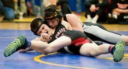 Woodland's Elias Sturdevant battles St. Paul's Evan Kowalski in the finals of the 113 lb. class during the Berkshire-Valley Postseason Invitational held Saturday at the Gilbert School in Winsted. Jim Shannon Republican American