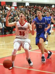 Cheshire High School's Aidan Godfrey reacts to a missed pass in front of Southington High School's Billy Wadolowski during the boys varsity basketball game at Cheshire High School on Friday, Feb. 15, 2019. Emily J. Reynolds. Republican-American