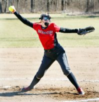 #11 Lexi Fortier of Northwestern Regional High pitches against Nonnewaug High during softball action in Woodbury Monday. Steven Valenti Republican-American