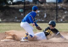 Kaynor Tech's Joseph Stasik slides safely into second base under the tag of Wilcox Tech's Nicholas Priebe, during a CTC league Baseball game between Wilcox Tech and Kaynor Tech at Kaynor Tech in Waterbury on Thursday. Bill Shettle Republican-American
