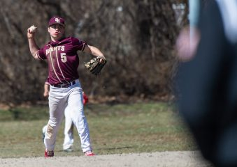 Sacred Heart's Nathaniel Suzanne (5) throws to first base for the out after fielding a ground ball during their game against Notre Dame-Fairfield Saturday at Waterville Park in Waterbury. Jim Shannon Republican American