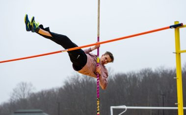 Housatonic's Mikael Gudmarsson took first place in the pole vault during their Berkshire League meet with Thomaston Tuesday at Nystrom's Sports Complex in Thomaston. Jim Shannon Republican American