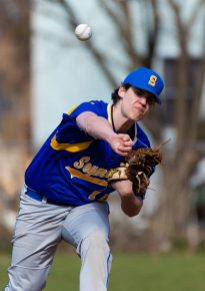 Seymour's Dan Manente (15) delivers a pitch during their game against Naugatuck Wednesday at French Memorial Park in Seymour. Jim Shannon Republican American
