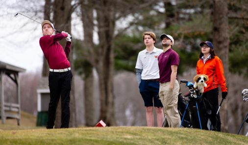 Torrington's Anthony Marinelli tees off on the 14th hole while Watertown's Tom Morrissey, Torrington's Gregory Aschenbrenner and Watertown's Hayley Zemaitis look on during their match Thursday at Crestbrook Park in Watertown. Jim Shannon Republican American