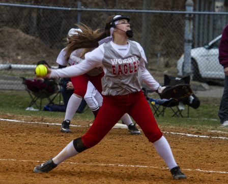 Wolcott #28 Kaitlyn Ouellette pitches against Torrington Friday afternoon at Torrington. Wolcott won 20-2. Jonathan Wilcox Republican-American