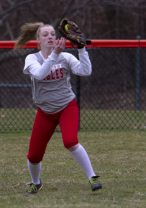 Wolcott outfielder #5 Abby Sullivan makes an out against Torrington Friday afternoon at Torrington. Wolcott won 20-2. Jonathan Wilcox Republican-American