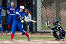 Nonnewaug's Madison Grieger #21 hits a dribbler down the line for a hit, during a Girls BL Softball game between Wamogo and Nonnewag at Nonnewaug High School in Woodbury on Thursday. Bill Shettle Republican-American
