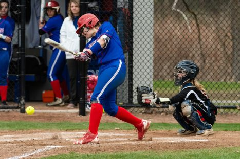 Nonnewaug's Allison Codianna #6 gets an infield hit to keep their rally alive, during a Girls BL Softball game between Wamogo and Nonnewag at Nonnewaug High School in Woodbury on Thursday. Bill Shettle Republican-American