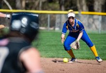 Seymour's Alyssa Johnson (3) runs down a ground ball during their NVL match-up with Woodland Wednesday at the Beacon Falls Recreational Complex. Jim Shannon Republican American