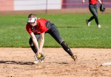 Northwestern's Jana Sanden #19 makes a play on a ground ball hit to her, during a Girls BL Softball game between Northwestern and Wamogo at Wamogo High School in Litchfield on Wednesday. Northwestern beat their rival Wamogo 9-5. Bill Shettle Republican-American