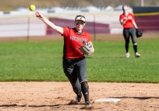 Northwestern's Jana Sanden #19 throws to first after fielding a ground ball hit to her, during a Girls BL Softball game between Northwestern and Wamogo at Wamogo High School in Litchfield on Wednesday. Northwestern beat their rival Wamogo 9-5. Bill Shettle Republican-American