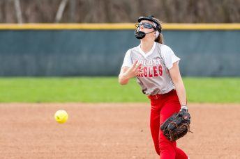Wolcott pitcher Kaitlyn Ouellette #28 delivers a pitch to home plate, during a NVL Girls softball game between Terryville and Wolcott at Wolcott High School in Wolcott on Thursday. Bill Shettle Republican-American