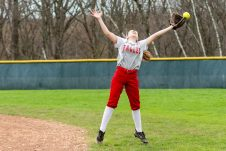 Wolcott's Hailey Krol #18 stretches out trying to catch a little blooper, during a NVL Girls softball game between Terryville and Wolcott at Wolcott High School in Wolcott on Thursday. Bill Shettle Republican-American
