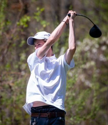 Litchfield's Tripp Melk tees off on the 17th hole during the Woodland Individual golf tournament held Thursday at Oxford Greens in Oxford. 20 schools from throughout the state completed in the tournament. Jim Shannon Republican American