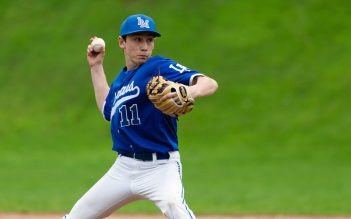 Lewis Mills' Sam Fitzsimons (11) delivers a pitch during their Berkshire League game against Northwestern Monday at Northwestern in Winsted. Jim Shannon Republican American