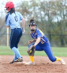 #2 Lauren Haversat of Seymour High gets the late throw as #0 Jenna Myers of Oxford High makes it safe to 2nd during softball action in Oxford Monday. Steven Valenti Republican-American