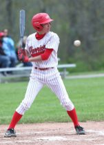 Wamogo High School's Colin Ferrer looks at a high pitch during the boys varsity baseball game at Wamogo against Terryville High School on Thursday afternoon. Emily J. Reynolds. Republican-American