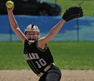 May Dawes pitches against Saint Paul Catholic High School in Bristol Saturday afternoon. Saint Paul defeated Woodland 17-14. Michael Kabelka / Republican-American