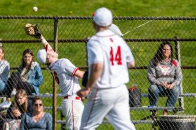 Wolcott's Jack Drewry #16 catches a pop up in foul territory, during a NVL Baseball game between Watertown and Wolcott at Wolcott High School in Wolcott on Wednesday. Bill Shettle Republican-American