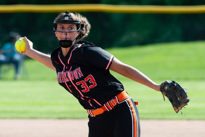 Watertown's Jordyn Forte (33) delivers a pitch during their NVL tournament semifinal game against Oxford Wednesday at Seymour High School. Jim Shannon Republican American
