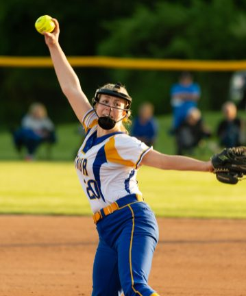 Seymour's Molly Adamo (20) delivers a pitch during their NVL tournament semifinal game against St. Paul Wednesday at Seymour High School. Jim Shannon Republican American