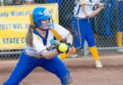 Seymour's Molly Adamo (20) lays down a bunt to advance a runner during their NVL tournament semifinal game against St. Paul Wednesday at Seymour High School. Jim Shannon Republican American
