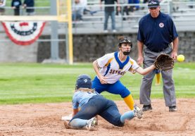 Oxford's Kaylee Dolan #14 dives back to second base safely ahead of the throw to Seymour's Lauren Haversat #2, during a Girls Softball NVL Championship game between Oxford and Seymour at Naugatuck High School in Naugatuck on Thursday. Oxford won in extra innings over Seymour 11-6 and wins the NVL Championship for 2019. Bill Shettle Republican-American