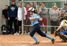 Oxford's Kaylee Cuomo #2 gets a rbi hit, during a Girls Softball NVL Championship game between Oxford and Seymour at Naugatuck High School in Naugatuck on Thursday. Oxford won in extra innings over Seymour 11-6 and wins the NVL Championship for 2019. Bill Shettle Republican-American