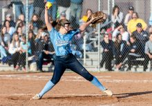 Oxford pitcher Sage Borkowski #13, delivers a pitch from the mound, during a Girls Softball NVL Championship game between Oxford and Seymour at Naugatuck High School in Naugatuck on Thursday. Oxford won in extra innings over Seymour 11-6 and wins the NVL Girls Softball Championship for 2019. Bill Shettle Republican-American