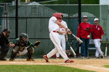 Wolcott's Dane Hassan #3 hits for a triple, during the NVL championship game between Holy Cross and Wolcott at Municipal Stadium in Waterbury on Friday. Wolcott beat Holy Cross 10-3 to win the 2019 NVL Baseball Championship. Bill Shettle Republican-American
