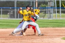Cheshire's Ian Battipaglia #18 slides hard into second base preventing Amity's Tanner Santos #4 from completing a double play, during the SCC championship game between Amity and Cheshire at Piurek Field in West Haven on Saturday. Bill Shettle Republican-American