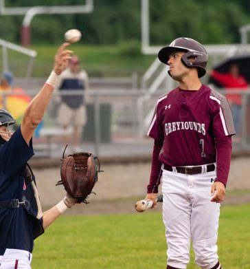 Naugatuck's Tristan Crelan (1) could not believe a strike was called on a pitch during their Class LL first round tournament game against Brien McMahon Tuesday at Naugatuck High School. Jim Shannon Republican American
