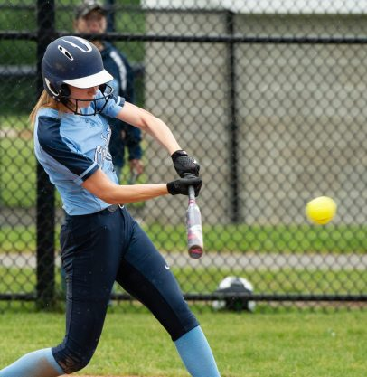 Oxford's Molly Sastram (10) rips a three RBI bases loaded triple during their Class M tournament game against Nonnewaug Wednesday at Oxford High School. Jim Shannon Republican American