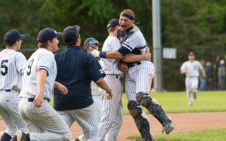 Shepaug players celebrate their win over Holy Cross in the Class S semifinals Tuesday at Sage Park in Berlin. Jim Shannon Republican American