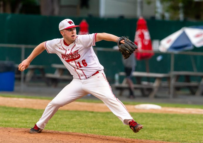 Wolcott's Jack Drewry (16) delivers a pitch during their Class M semifinal game against Woodland Tuesday at Muzzy Field in Bristol. Jim Shannon Republican American