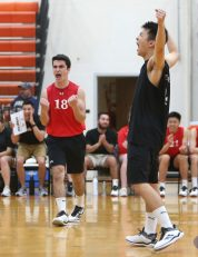 Cheshire High School's Toma Constantinescu celebrates a point as Cheshire battles Newington High School for the Class M boys volleyball title at Shelton High School on Thursday, June 6, 2019. Emily J. Reynolds. Republican-American