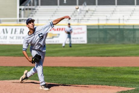 Shepaug pitcher Dominic Perachi #21 delivers a pitch from the mound, during the Class S Baseball Championship game between Coventry and Shepaug at Palmer Field in Middletown on Saturday. Dominic gave up only one earned hit in the lost to Coventry 3-0. Bill Shettle Republican-American