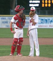 Wolcott High School starting pitcher Brett Adams and catcher Jeffrey Nicol meet at the mound during the boys Class M baseball final on Palmer Field in Middletown against St. Joseph High School on Saturday, June 8, 2019. Emily J. Reynolds. Republican-American