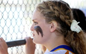 #1 Jenna Geffert of Seymour High watches as they loose to Waterford during the CIAC Class M softball final in West Haven Saturday. Steven Valenti Republican-American