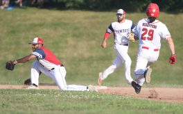#29 Steve Urbansk of Wolcott steals 2nd as #1 Stan Rijo of Litchfield gets the late throw, #5 Drew Gauvan of Litchfield backs him up during the Tri-State Baseball game in Litchfield Monday. Steven Valenti Republican-American
