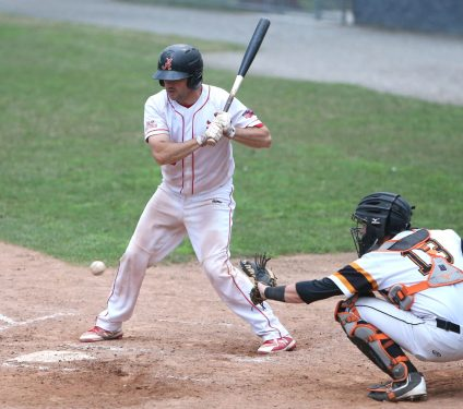 Albany Athletics catcher Craig Masttiani watches a low pitch during the game against the Terryville Black Sox at Fuessenich Park on Thursday night. Emily J. Tilley. Republican-American