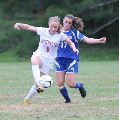 Northwestern High School's Hannah Gibb battles Nonnewaug High School's Reilly Faraci for the ball during the girls varsity soccer game in Hollow Park on Thursday afternoon. Emily J. Reynolds. Republican-American