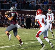 Naugatuck's Aaron Smith (48) nearly intercepts a pass intended for Wolcott's Nicholas LaFountain (4) during their season opening game Friday at Naugatuck High School. Jim Shannon Republican-American