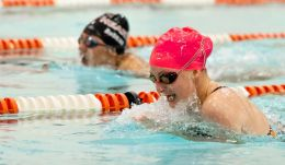Watertown's Emma Johnson edged out Sacred Heart's Nicole DaSilva to win the 100m breast stroke during their NVL meet Tuesday at Watertown High School. Jim Shannon Republican-American