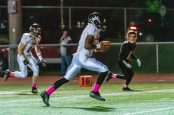 Ansonia running back Shykeem Harmon #3 runs the ball in for a easy touchdown, after catching a pass over the middle, during a NVL game of the unbeaten between Ansonia and Watertown at Watertown High School on Friday. Bill Shettle Republican-American