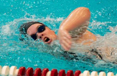 Naugatuck's Kelly Brodeur competes in the 200 Yard Freestyle during their meet with Seymour Friday at Naugatuck High School. Jim Shannon Republican-American