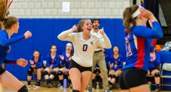 Nonnewaug's Victoria O'Bar (0) celebrates a point with her teammates during their Berkshire League match up with Northwestern Tuesday at Woodbury Middle School. Jim Shannon Republican-American